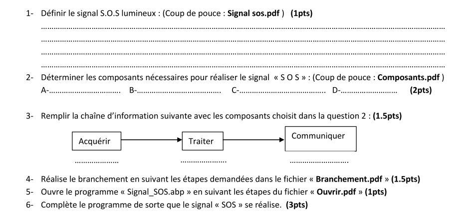 TP signal sos à réaliser en utilisant la technologie arduino